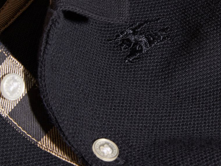 Cotton Piqué Polo Shirt in True Navy | Burberry - cell image 1