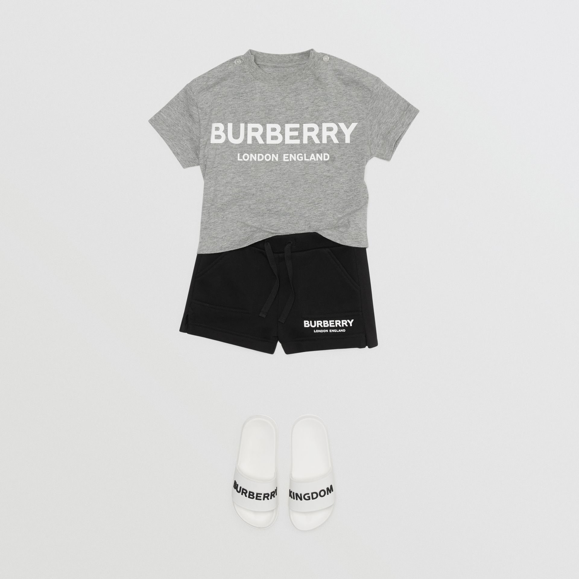 Logo Print Cotton T-shirt in Grey Melange - Children | Burberry Canada - gallery image 2