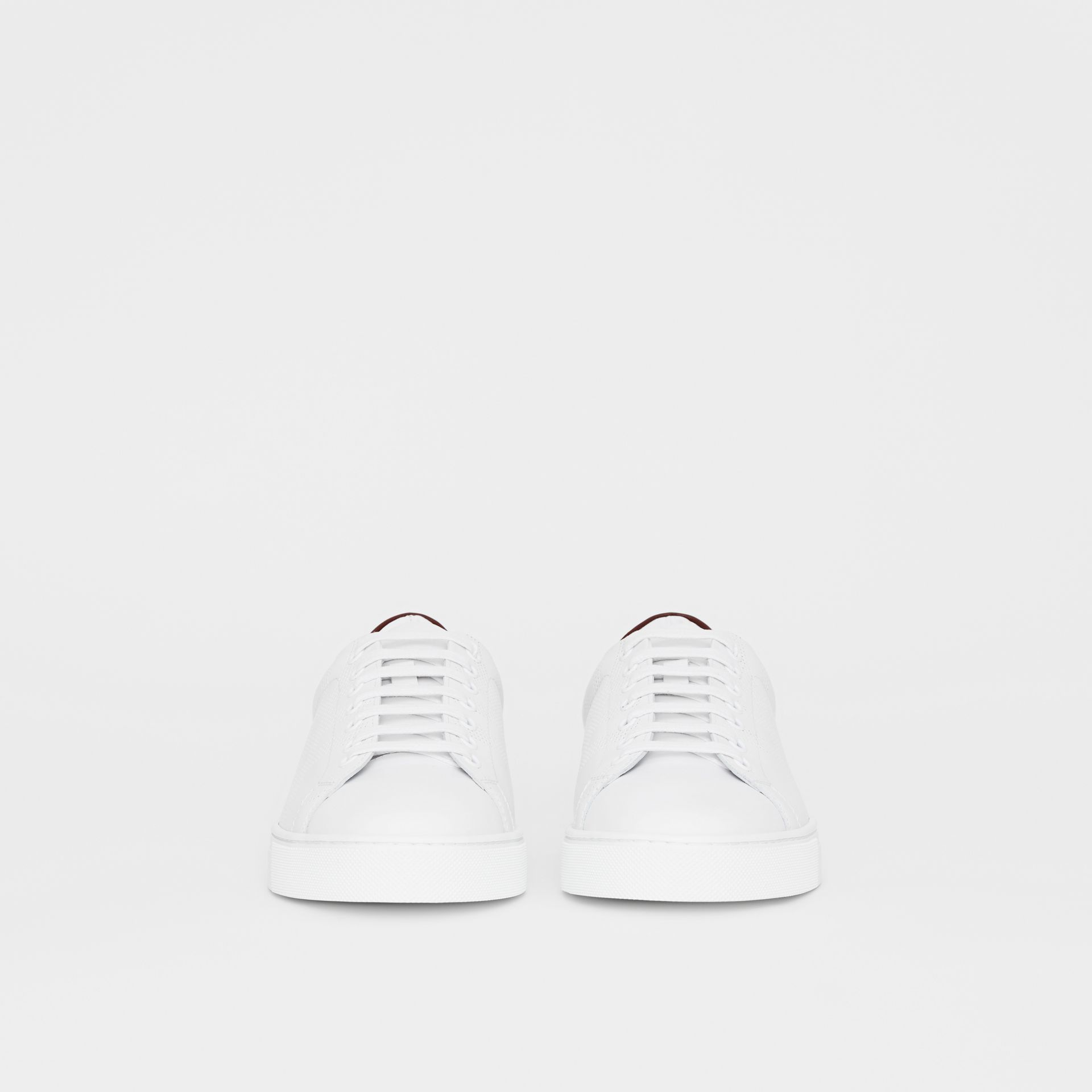 Perforated Check Leather Sneakers in Optic White - Men | Burberry Canada - gallery image 3
