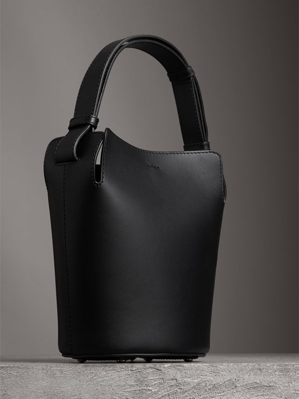 The Small Leather Bucket Bag in Black - Women | Burberry Hong Kong - cell image 3