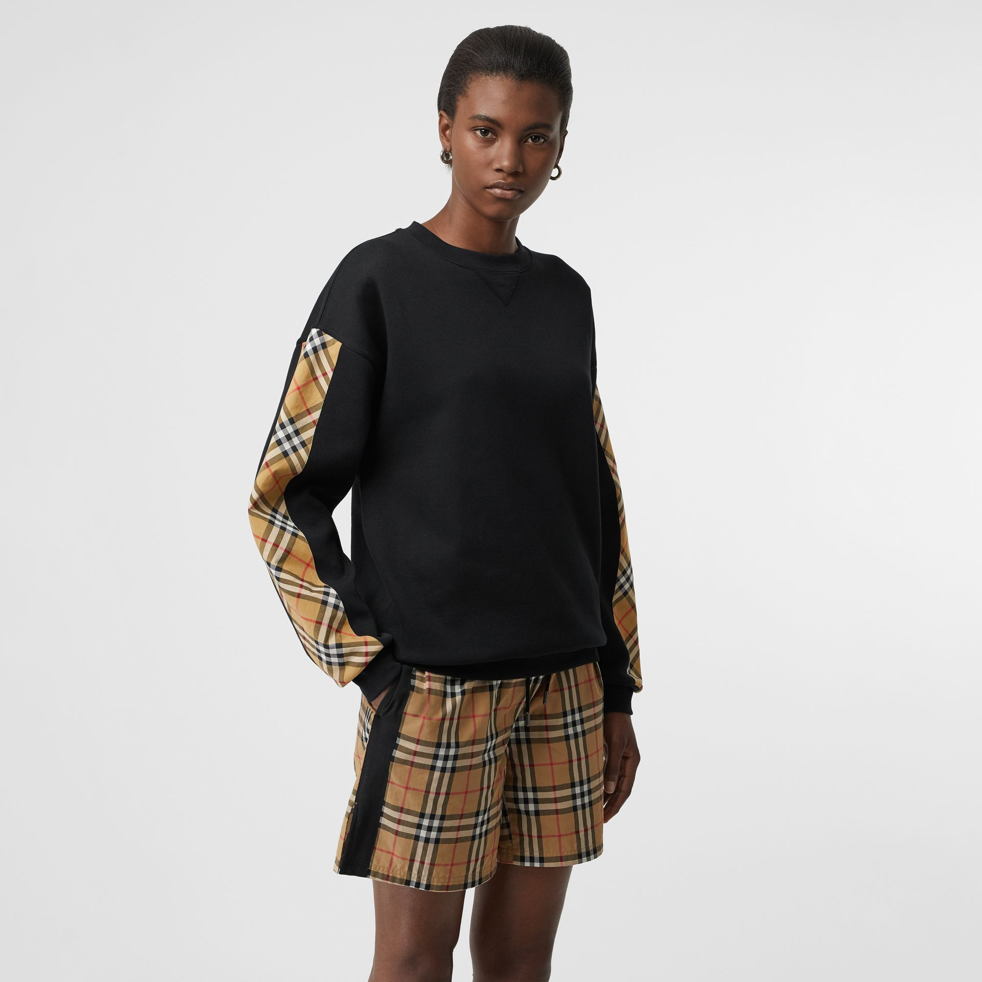 Vintage Check Detail Cotton Blend Sweatshirt in Black - Women | Burberry United Kingdom - gallery image 0