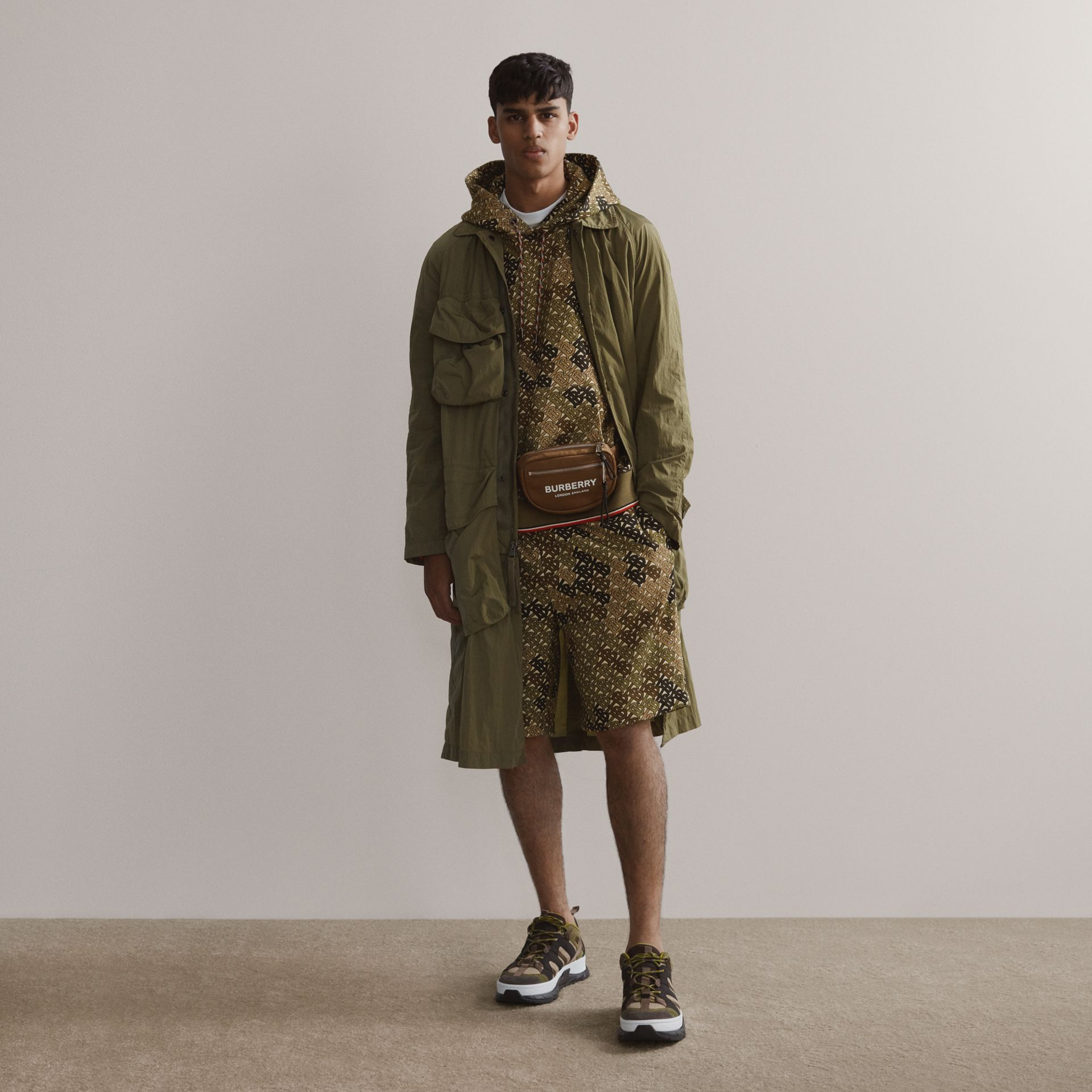 Monogram Print Cotton Drawcord Shorts in Khaki Green | Burberry - gallery image 1