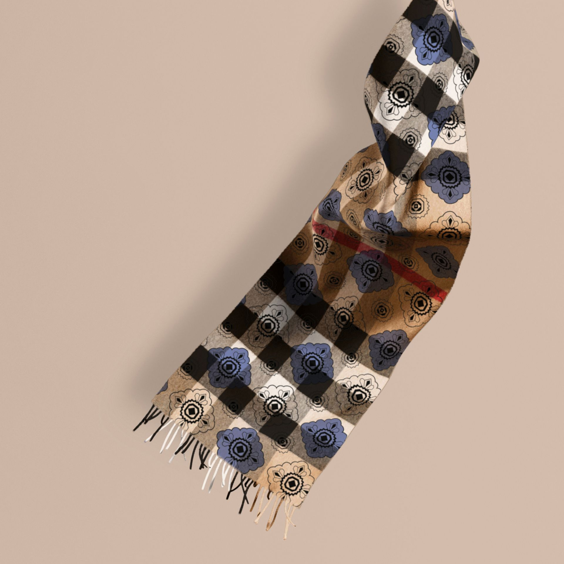 Reversible Geometric Tile Print and Check Cashmere Scarf - gallery image 1
