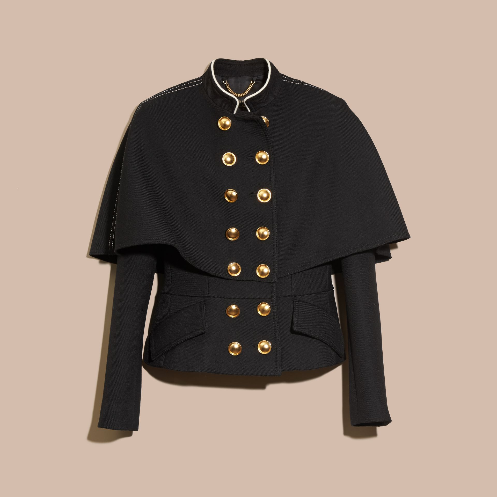 Black Wool Silk Military Cape Jacket - gallery image 4