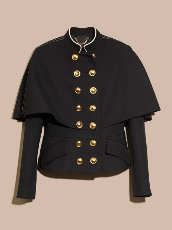 Black Wool Silk Military Cape Jacket - cell image 3