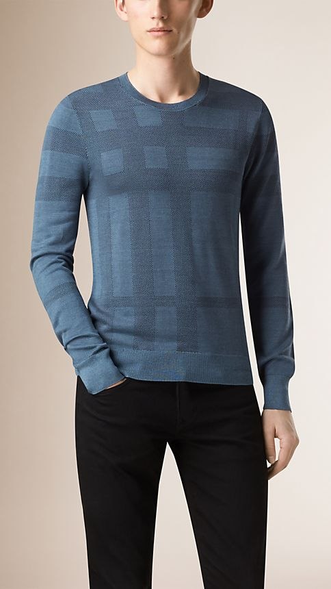 Dark slate blue Check Crew Neck Silk Sweater - Image 1