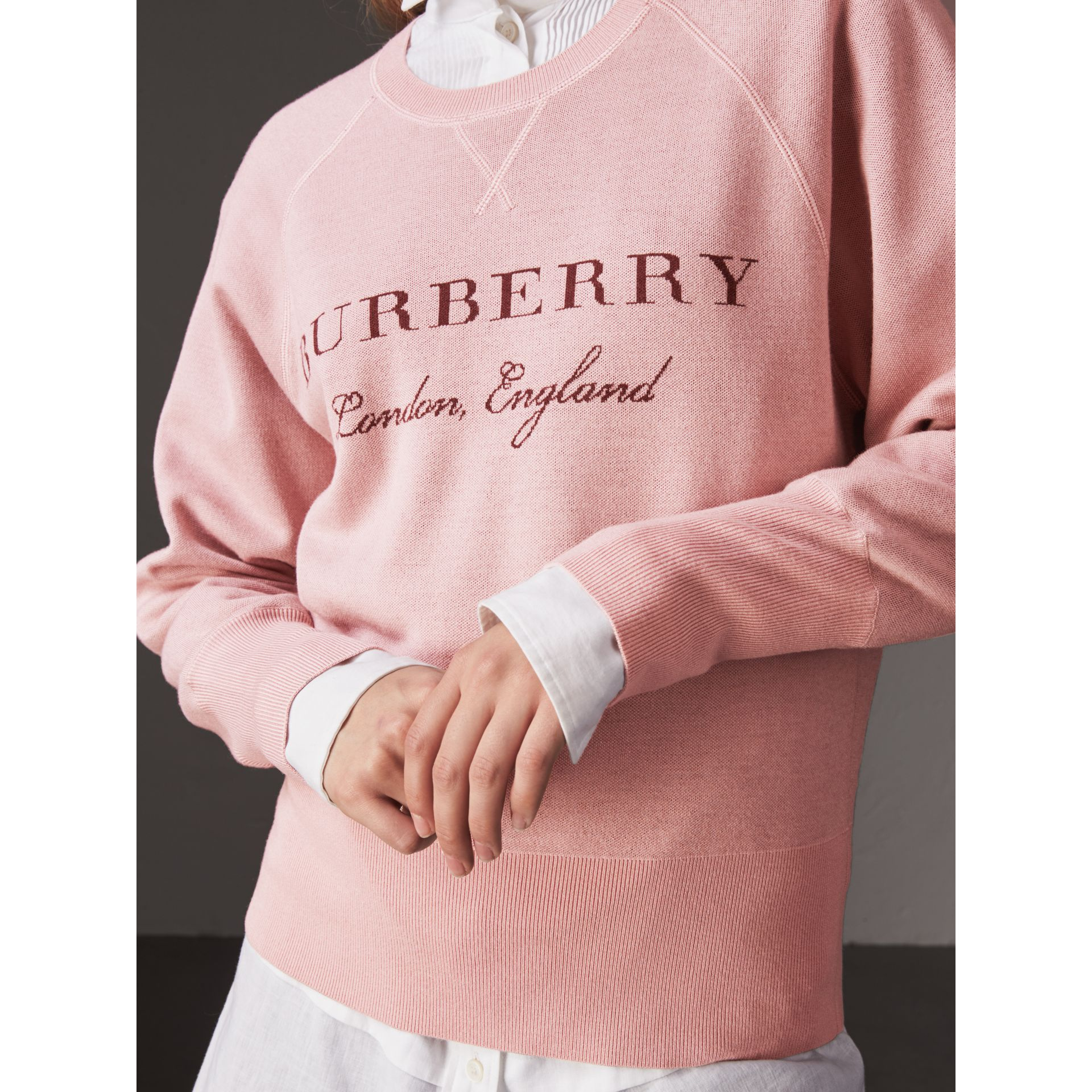 Lightweight Merino Wool Silk Sweater in Ash Rose - Women | Burberry - gallery image 2