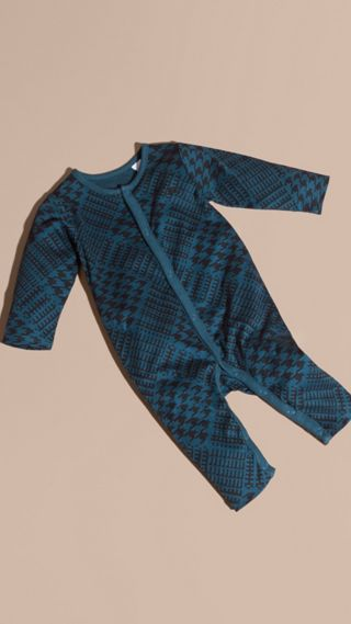 Prince of Wales Check Print Cotton Jumpsuit