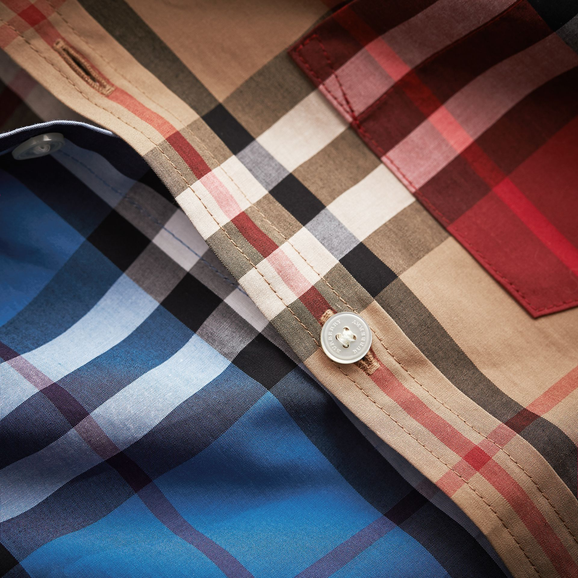 Colour Block Check Cotton Twill Shirt in Camel - Boy | Burberry Hong Kong - gallery image 2
