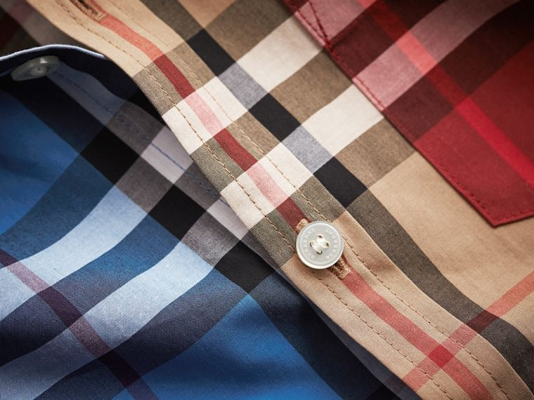 Colour Block Check Cotton Twill Shirt in Camel - Boy | Burberry - cell image 1