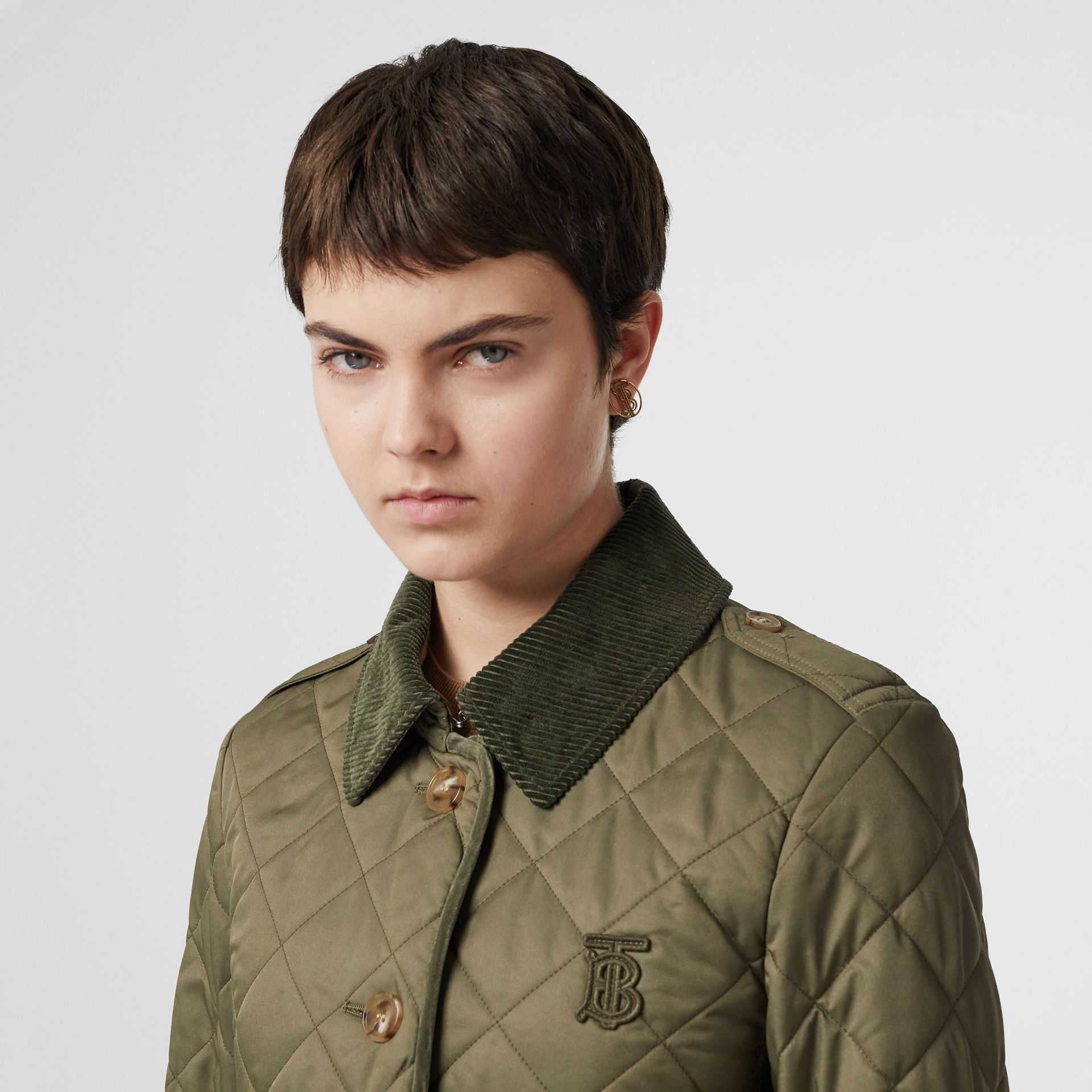 Monogram Motif Diamond Quilted Jacket in Olive Green - Women | Burberry - gallery image 1