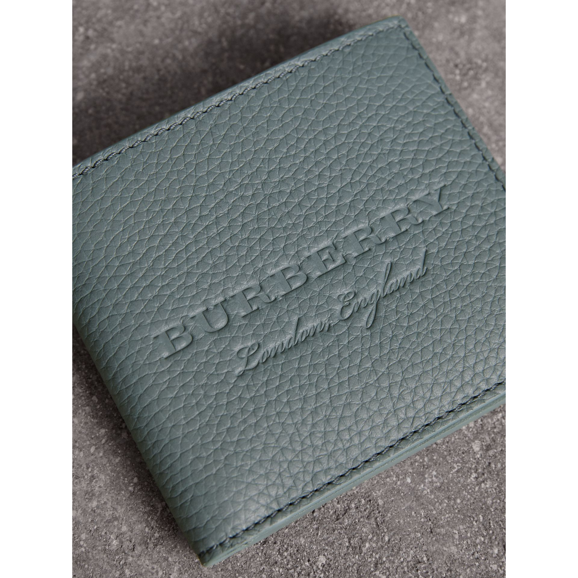 Embossed Leather Bifold Wallet in Dusty Teal Blue - Men | Burberry - gallery image 2