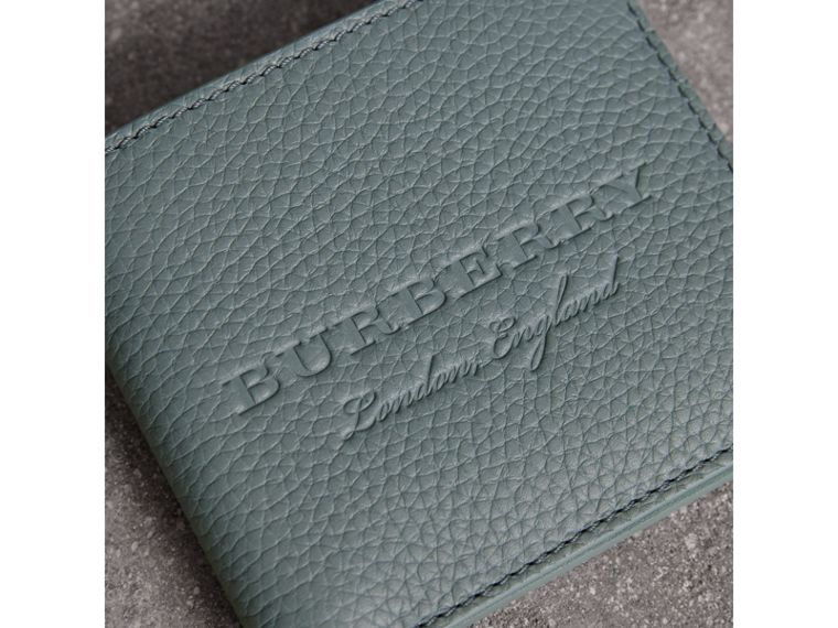 Embossed Leather Bifold Wallet in Dusty Teal Blue - Men | Burberry Hong Kong - cell image 1