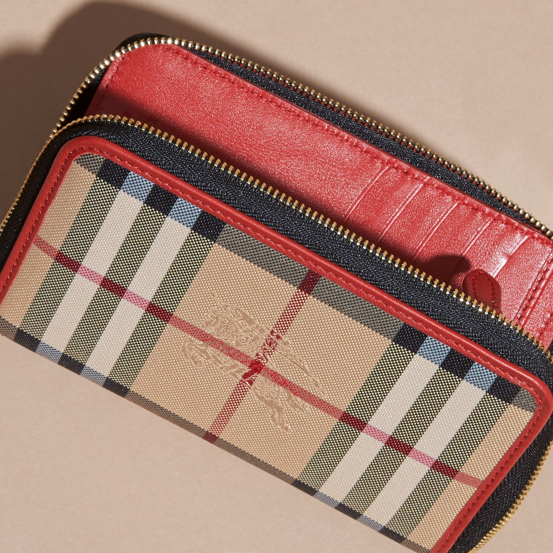 Horseferry Check and Leather Ziparound Wallet Parade Red - gallery image 2