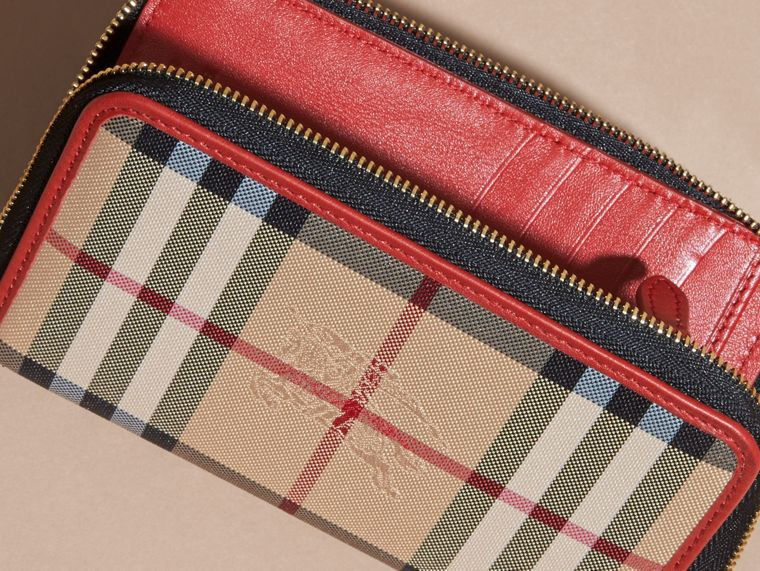 Horseferry Check and Leather Ziparound Wallet in Parade Red - cell image 1