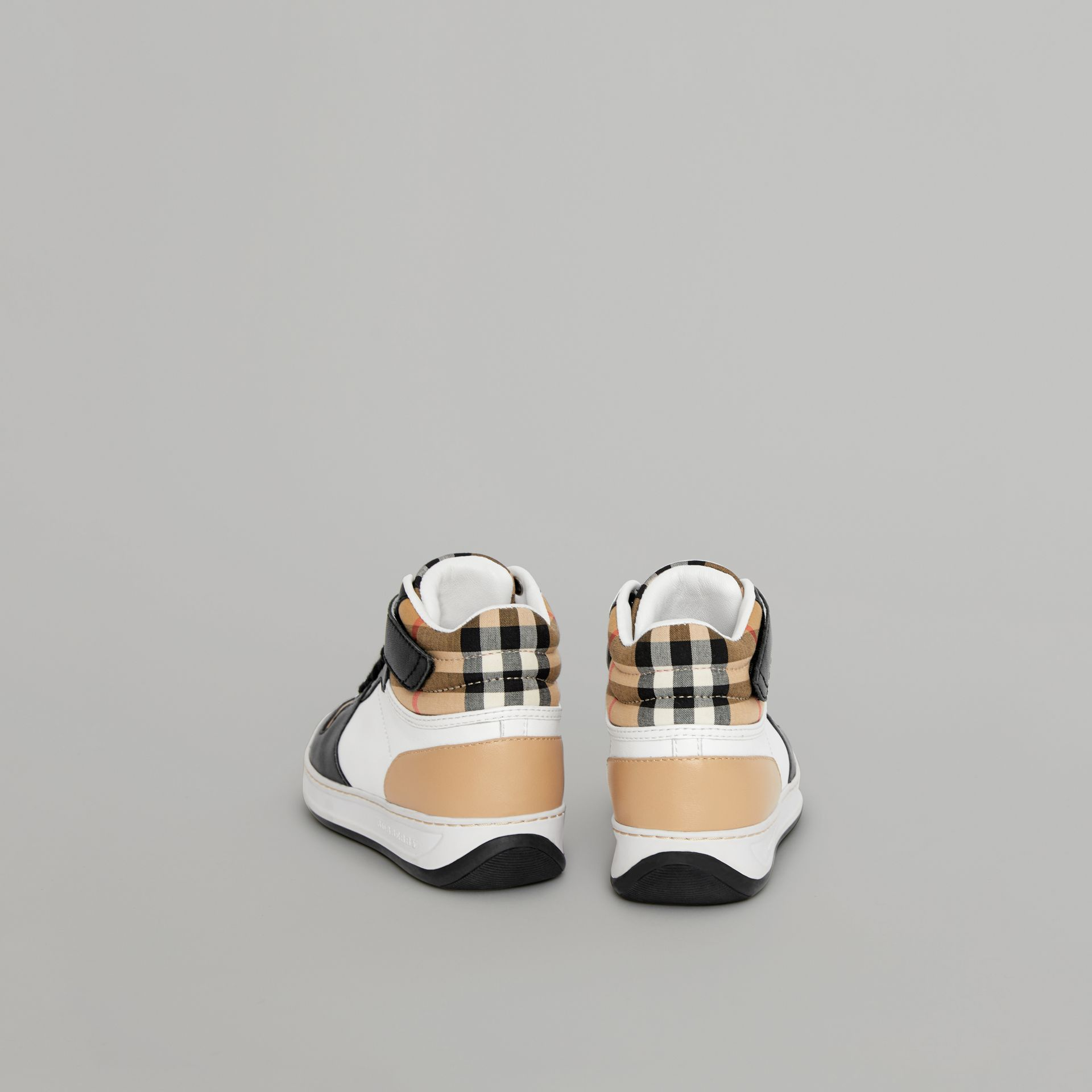Vintage Check and Leather High-top Sneakers in Antique Yellow - Children | Burberry - gallery image 2