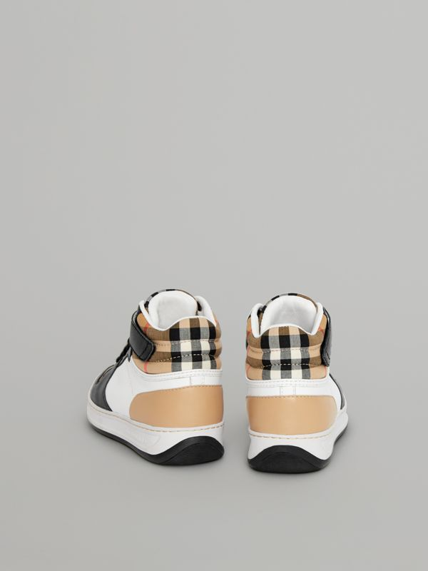 Vintage Check and Leather High-top Sneakers in Antique Yellow - Children | Burberry - cell image 2