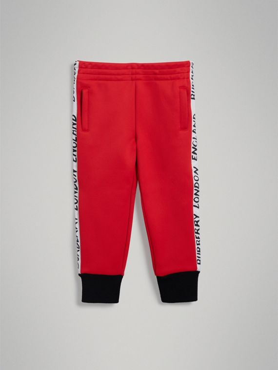 Stripe Detail Jersey Sweatpants in Bright Red - Boy | Burberry Singapore - cell image 2