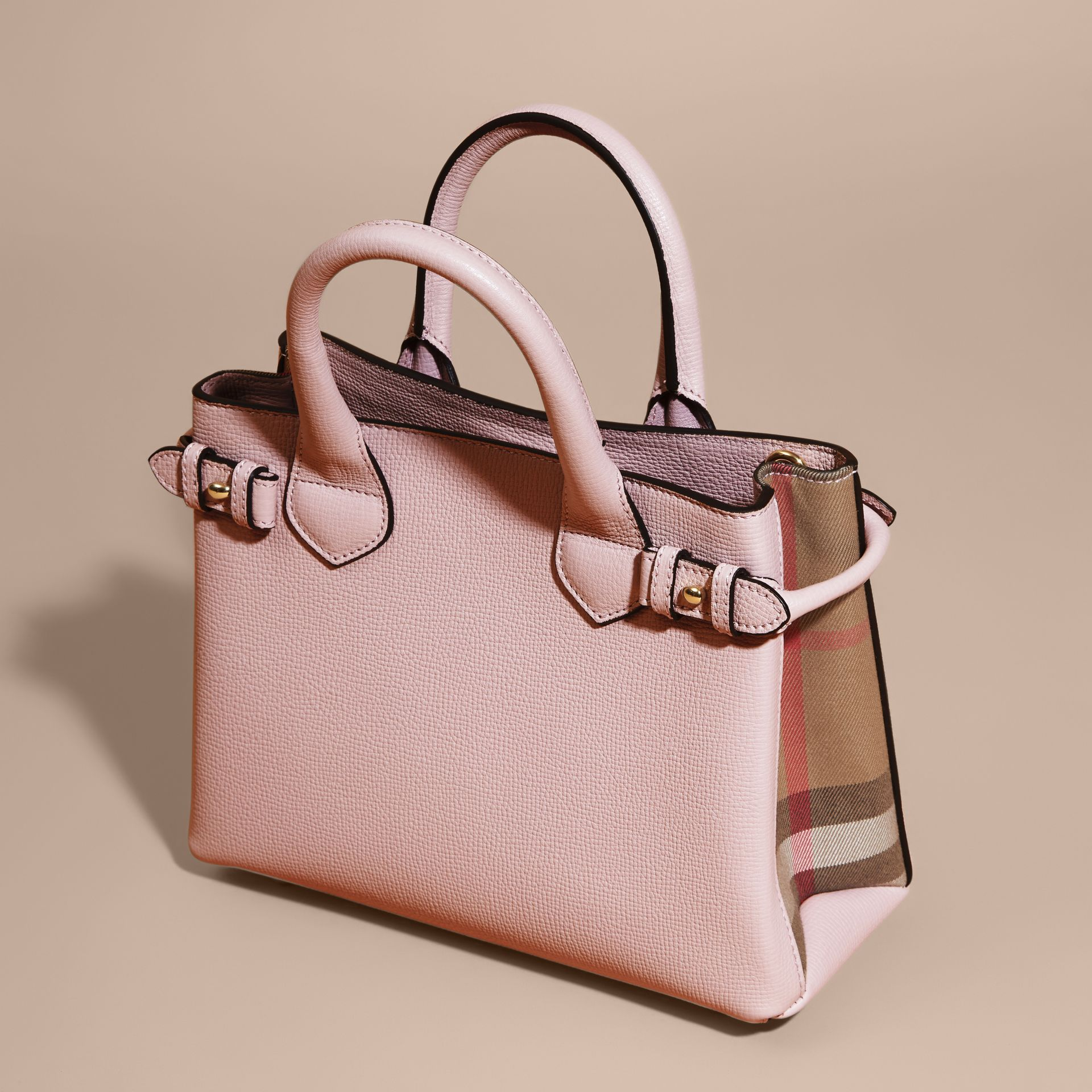 The Small Banner in Leather and House Check in Pale Orchid - Women | Burberry - gallery image 3