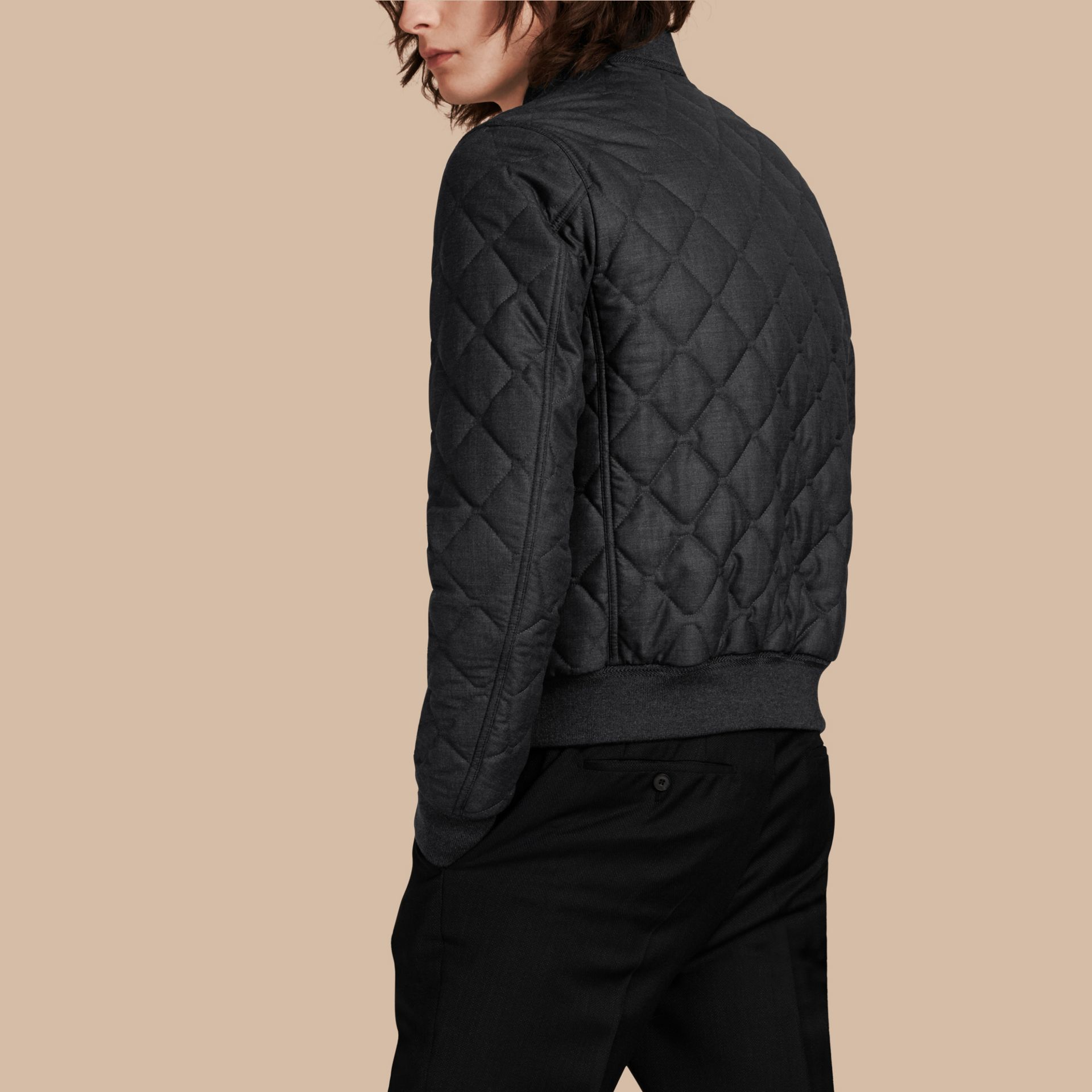 Charcoal Lambskin Trim Quilted Wool Bomber Jacket - gallery image 3