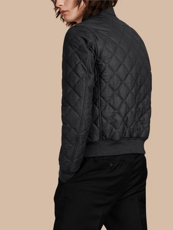 Charcoal Lambskin Trim Quilted Wool Bomber Jacket - cell image 2