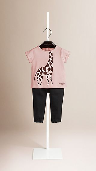 Giraffe Print Cotton T-shirt