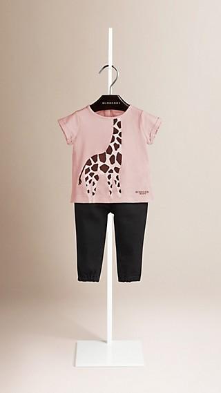 T-shirt en coton avec imprimé girafe