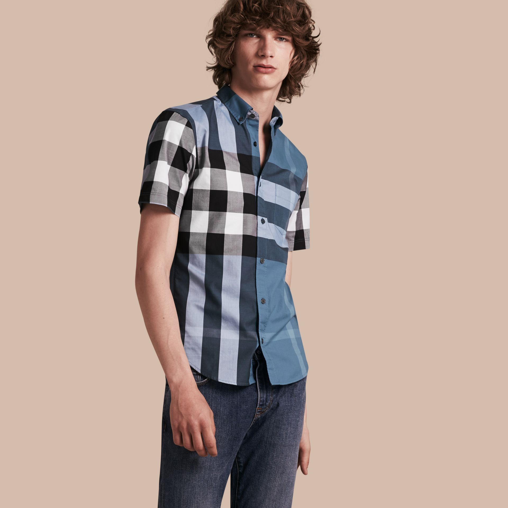 Lupin blue Short-sleeved Check Cotton Shirt Lupin Blue - gallery image 1
