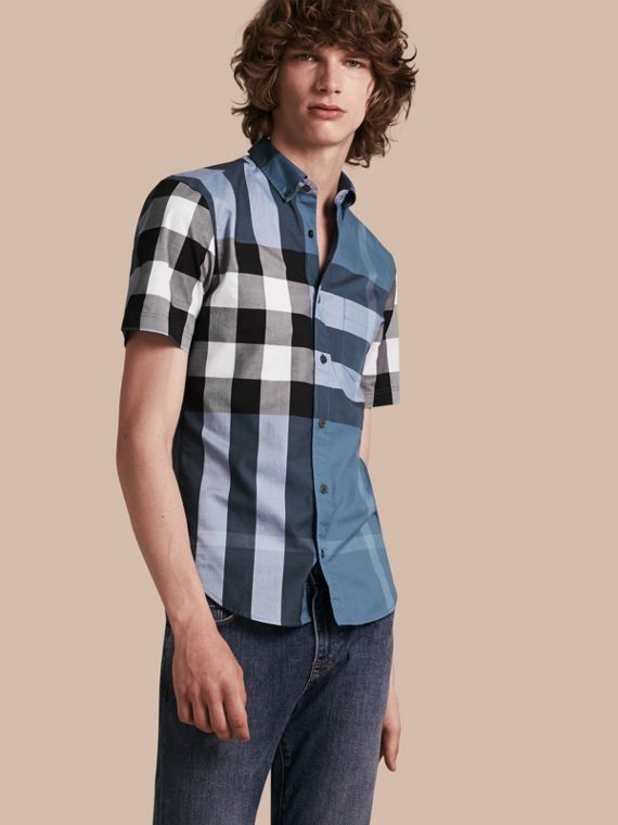 Short-sleeved Check Cotton Shirt Lupin Blue