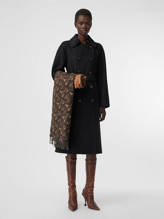 Double-faced Cashmere Trench Coat in Black