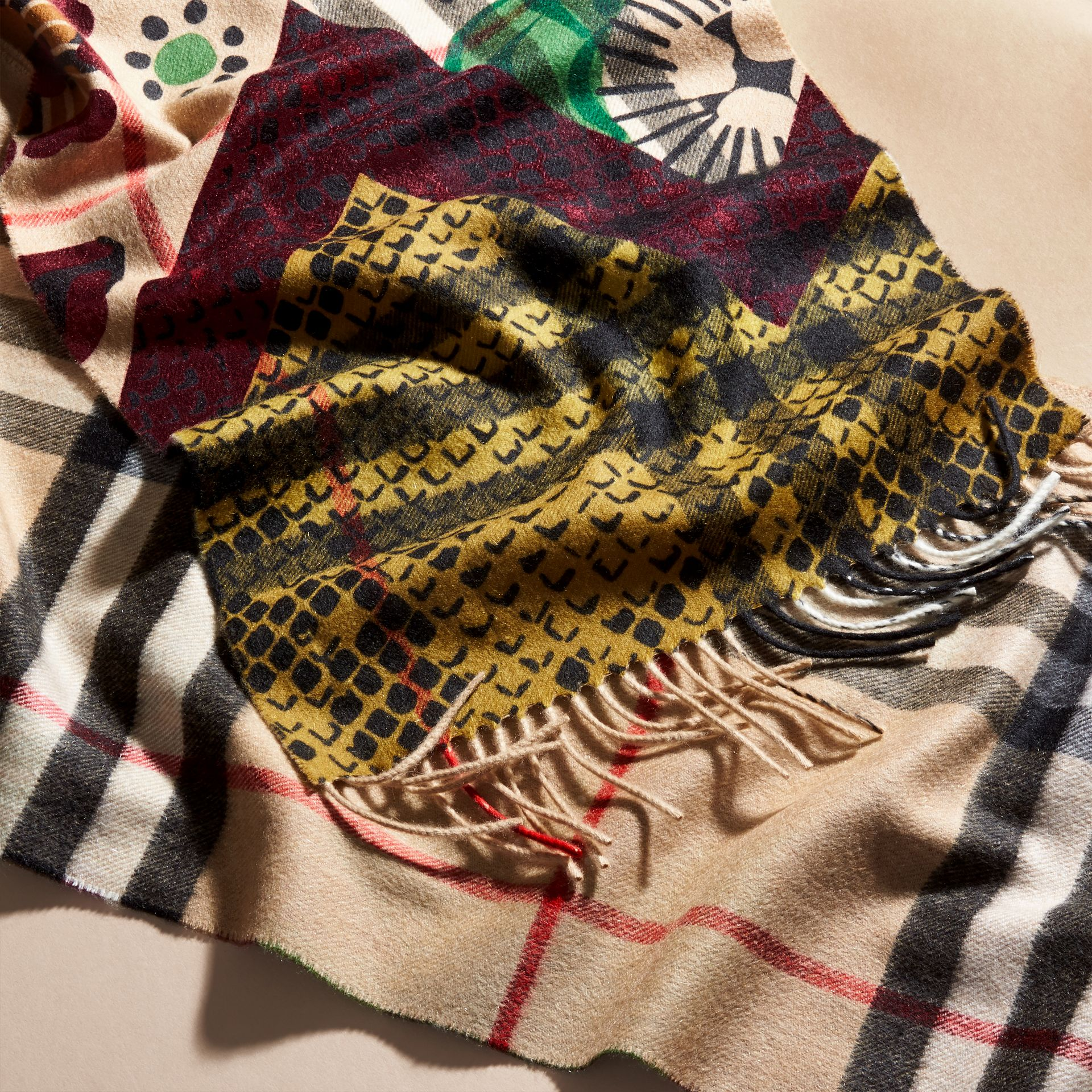 Multicolour The Classic Cashmere Scarf in Check with Patchwork Print - gallery image 5