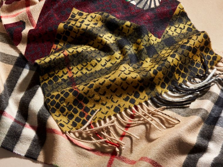 Multicolour The Classic Cashmere Scarf in Check with Patchwork Print - cell image 4