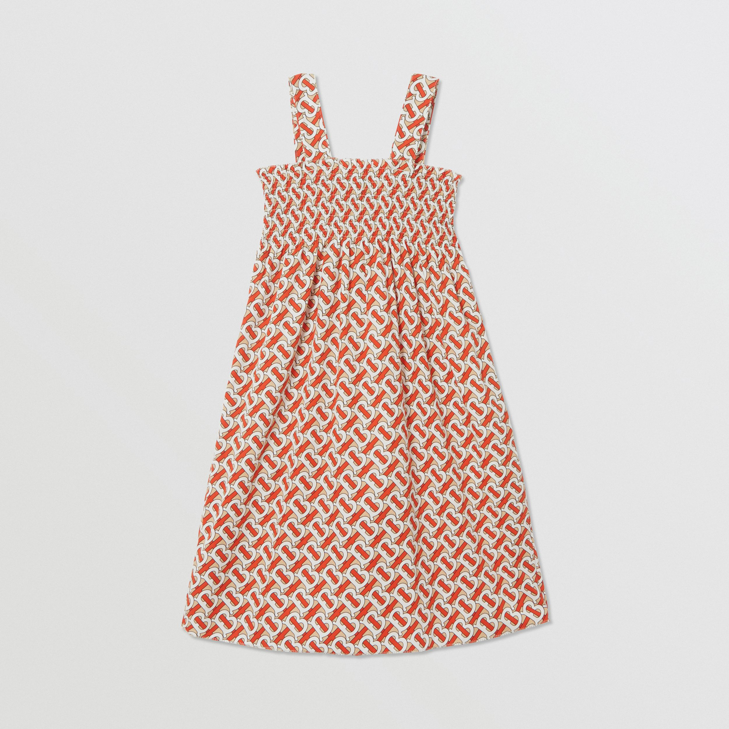 Smocked Monogram Print Cotton Poplin Dress in Vermilion Red | Burberry - 4