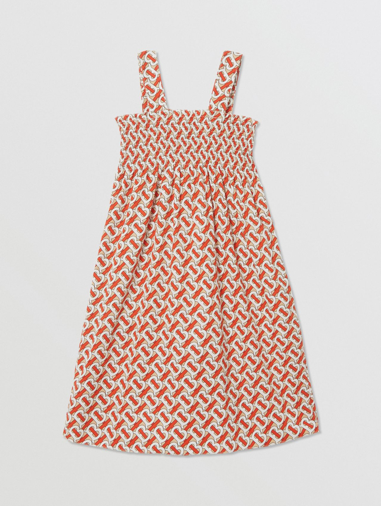 Smocked Monogram Print Cotton Poplin Dress in Vermilion Red
