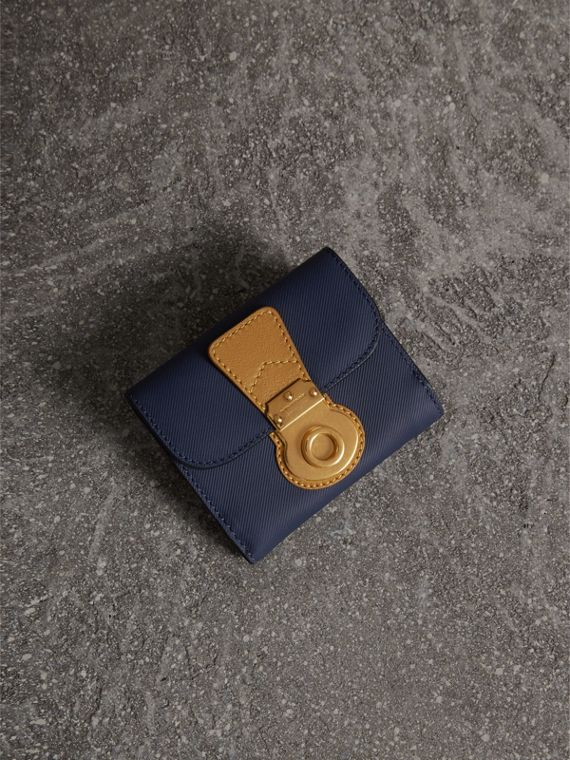 Two-tone Trench Leather Wallet in Ink Blue/ochre Yellow