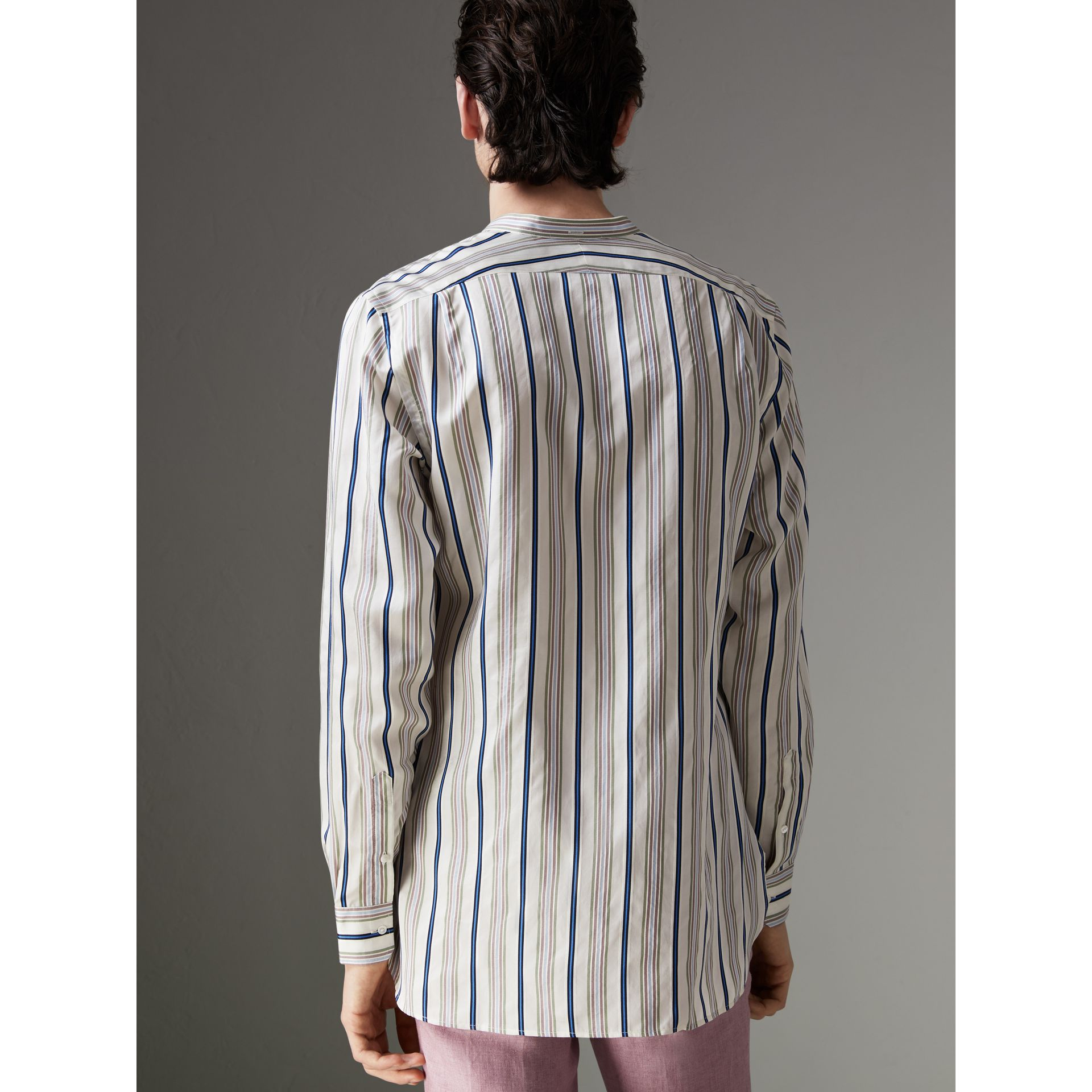 Grandad Collar Striped Silk Shirt in Off White - Men | Burberry - gallery image 2