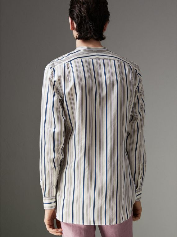 Grandad Collar Striped Silk Shirt in Off White - Men | Burberry Canada - cell image 2