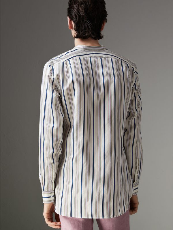 Grandad Collar Striped Silk Shirt in Off White - Men | Burberry - cell image 2