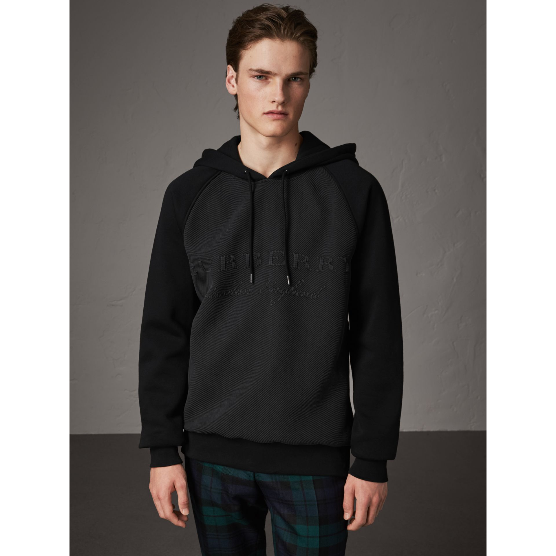 Silk Blend Panel Detail Jersey Hooded Top in Black - Men | Burberry - gallery image 4