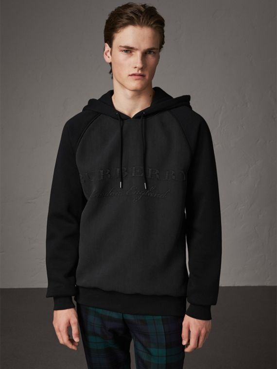 Silk-blend Panel Detail Jersey Hooded Top in Black
