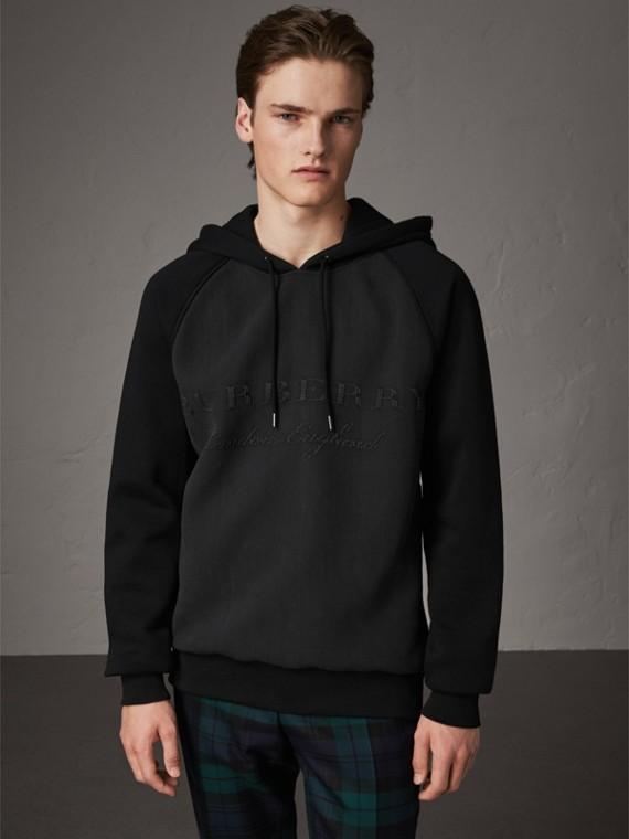 絲綢混紡裁片設計平織連帽上衣 (黑色)