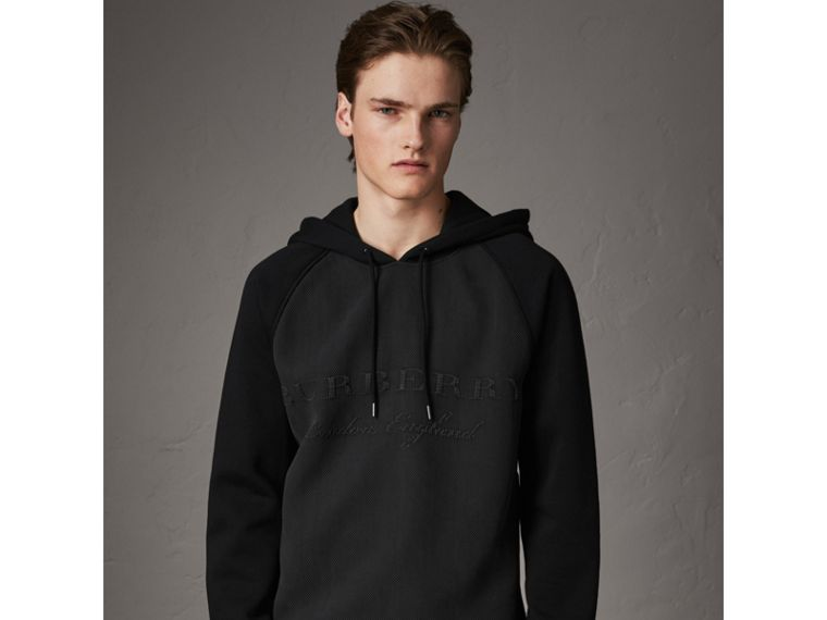 Silk Blend Panel Detail Jersey Hooded Top in Black - Men | Burberry - cell image 4