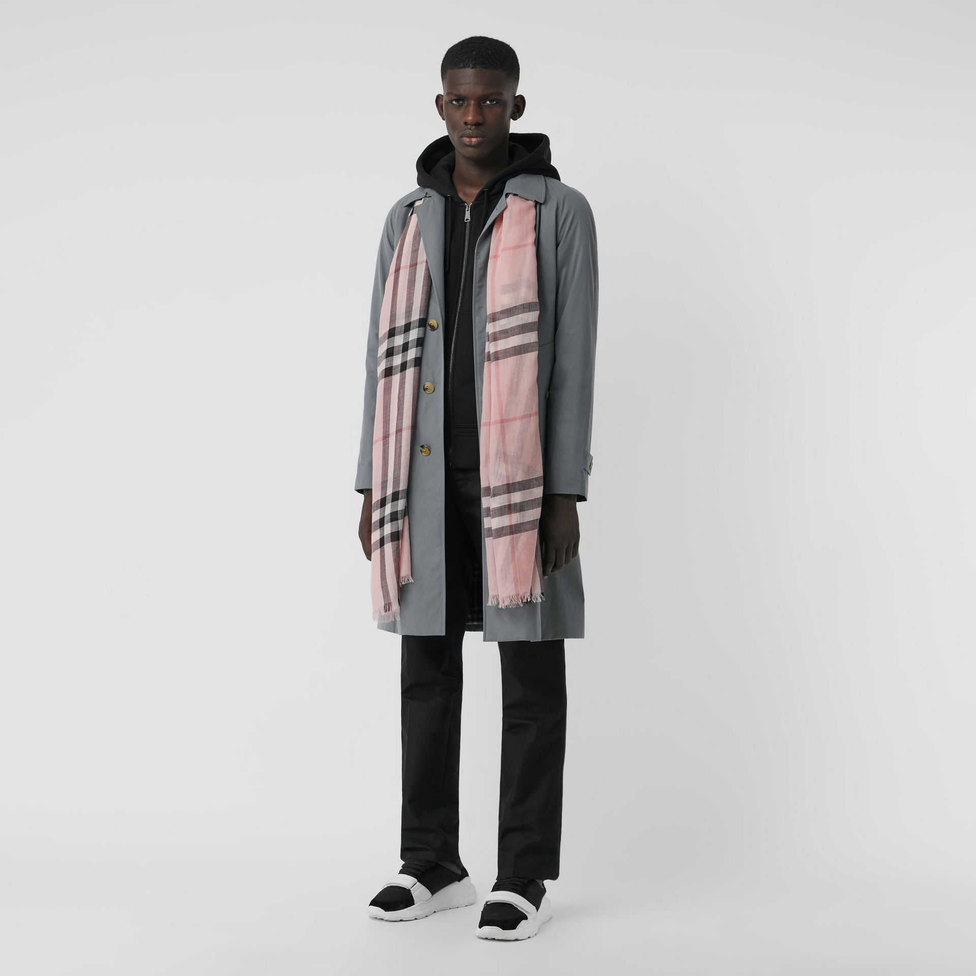 Lightweight Check Wool and Silk Scarf in Ash Rose | Burberry Australia - gallery image 3