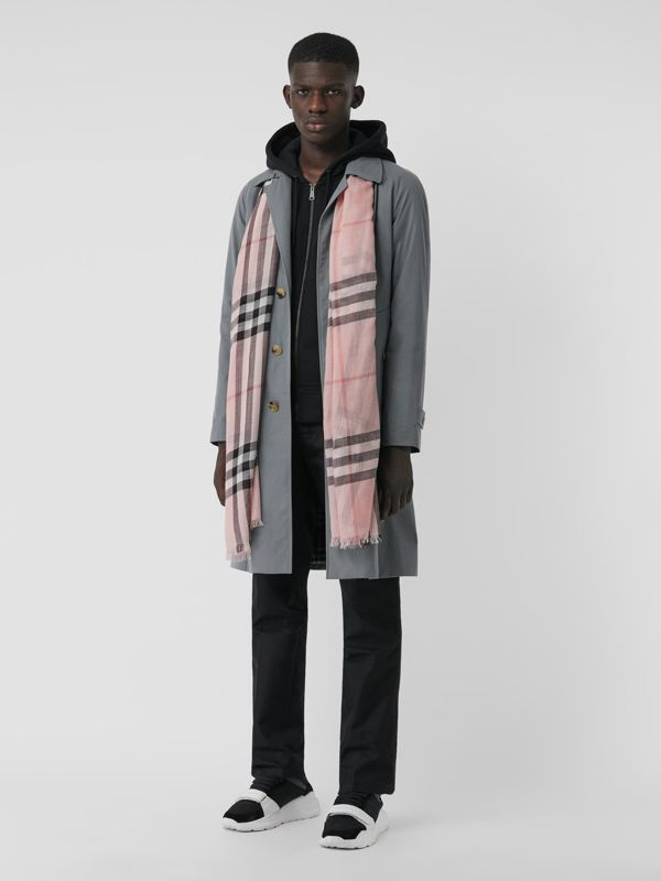 Lightweight Check Wool and Silk Scarf in Ash Rose | Burberry Australia - cell image 3