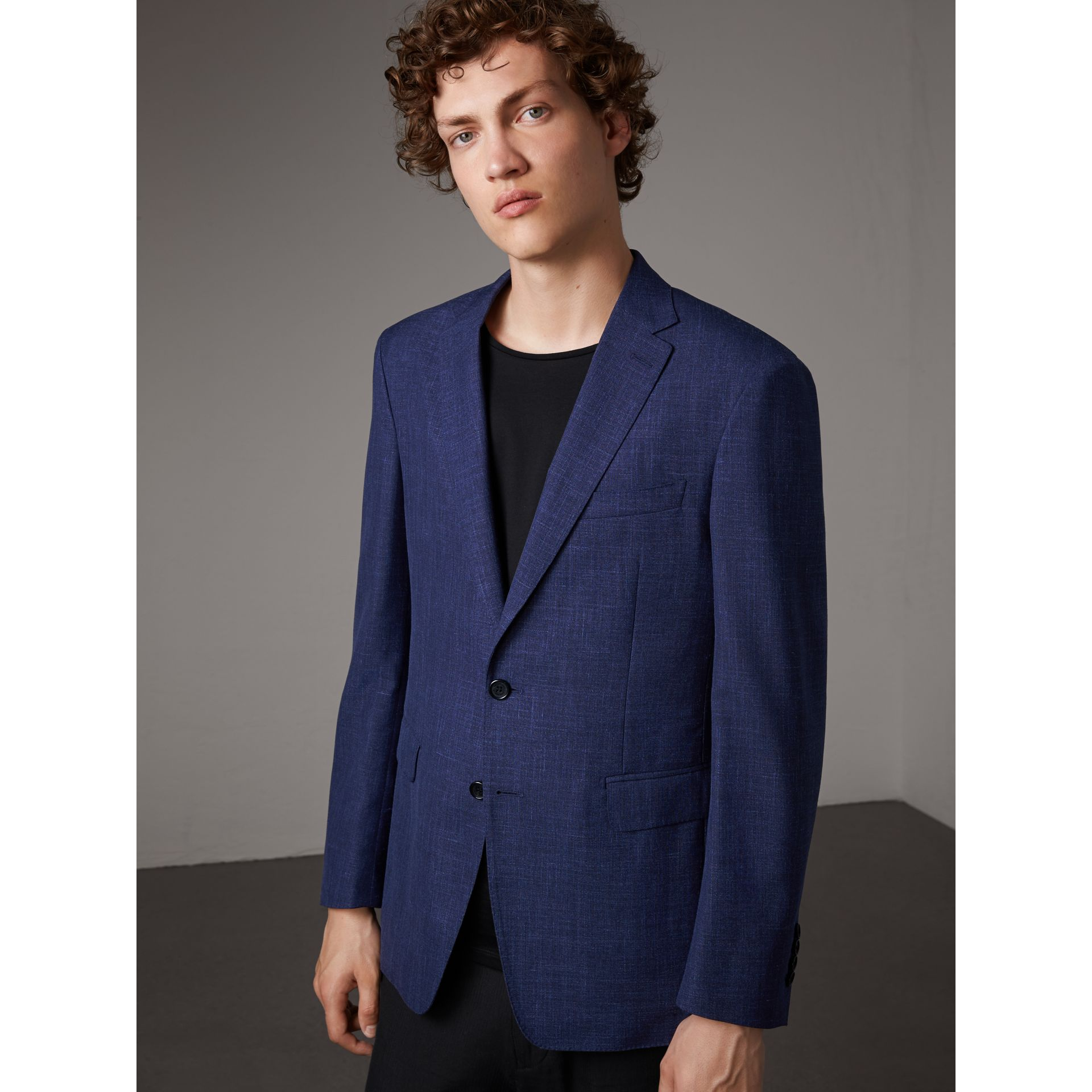 Modern Fit Wool Silk Linen Tailored Half-canvas Jacket in Steel Blue - Men | Burberry Hong Kong - gallery image 1
