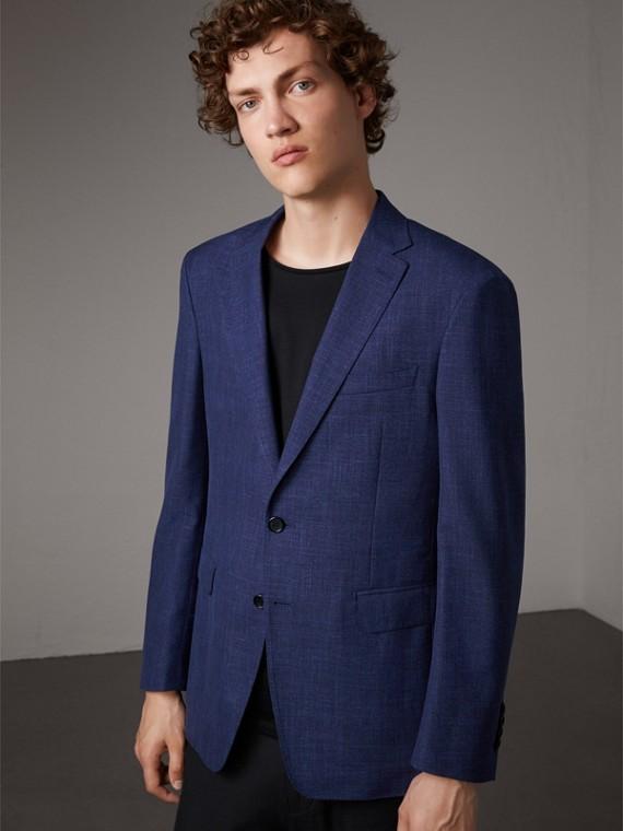 Modern Fit Wool Silk Linen Tailored Half-canvas Jacket in Steel Blue