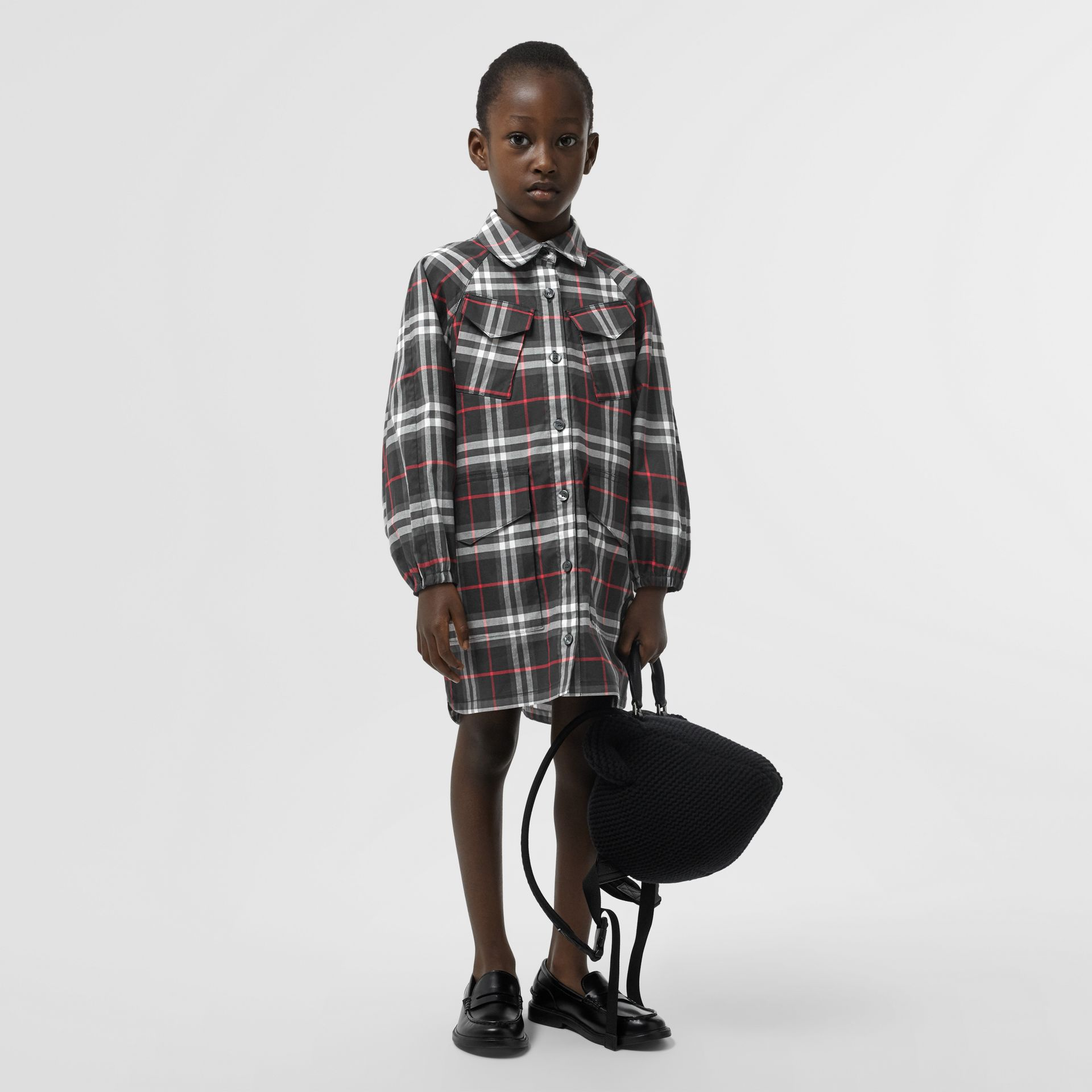 Vintage Check Cotton Shirt Dress in Black | Burberry United States - gallery image 2