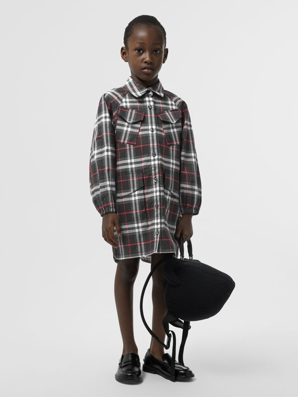 Vintage Check Cotton Shirt Dress in Black - Children | Burberry - cell image 2