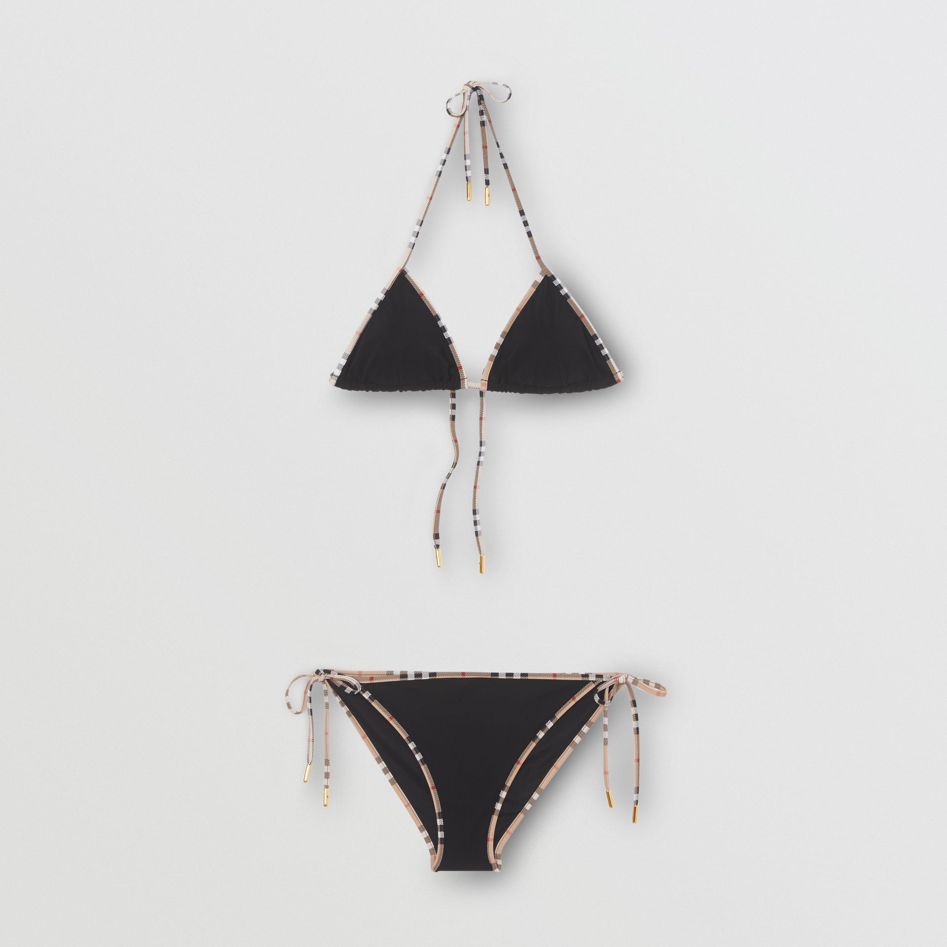 Vintage Check Detail Triangle Bikini in Black - Women | Burberry United States - gallery image 2