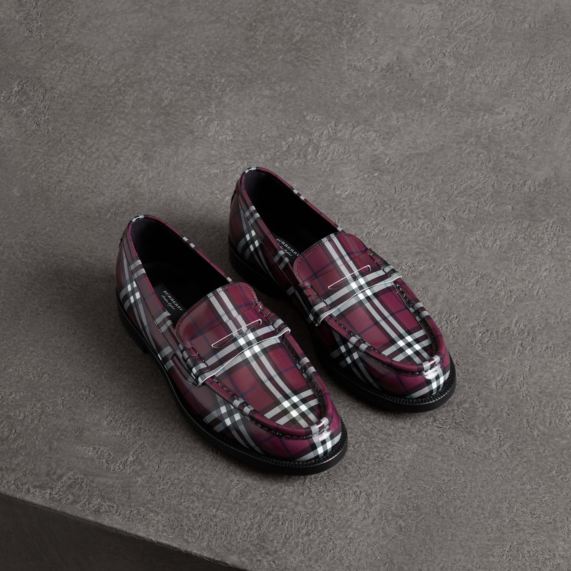 Gosha x Burberry Check Leather Loafers in Claret - Men | Burberry Singapore - gallery image 0